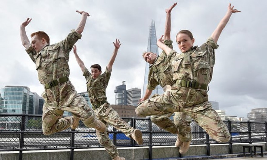 Harriet Ellis (far right), in Rosie Kay's Dance Company's '5 Soldiers'