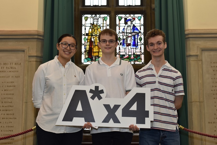 Pictured left to right Lan Yang, Alex Slater and Daniel Taylor, three of the six students who achieved four A Star grades.