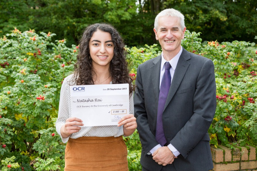 Natasha with Classics teacher Dave Bell at the OCR presentation